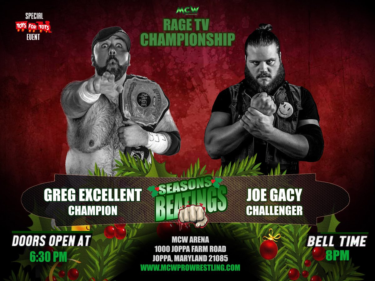 Former #CZW World Champ @JoeGacy is coming to #MCW on Fri 12/1 for #MCWSeasonsBeatings2017 &amp; has his sights set on the @MCWRageTV Champ @GregExcellent! Can Gacy derail the Gravy Train on Biscuit Wheels or will the Champ's winning streak continue?   http:// MCWProWrestling.com  &nbsp;   for tix!<br>http://pic.twitter.com/3QReGEDPYH