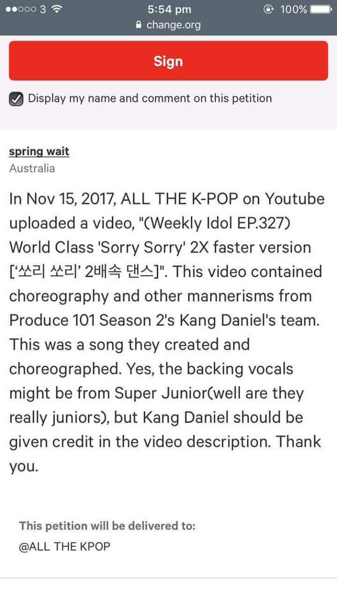 RT @yeripurp: Yall they made a petition for SJ to give credit to Kang Daniel for dancing to Sorry Sorry 😂 https://t.co/qD6vDLO3Xq