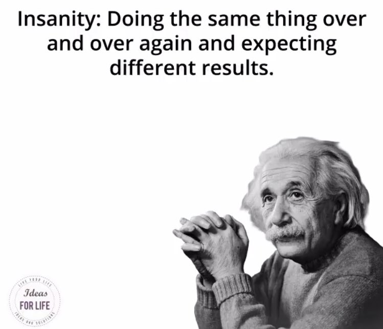 """""""INSANITY: Doing the same thing over and over again and expecting different results.""""  - Albert Einstein   #ThinkBIGSundayWithMarsha  #SuccessTRAIN #KnowledgeIsPower  #Strictly2017 #motivation  #inspiration #positive #quote #InspireThemRetweetTuesday #TuesdayThoughts #tuesday<br>http://pic.twitter.com/o4x3DHUSpM"""