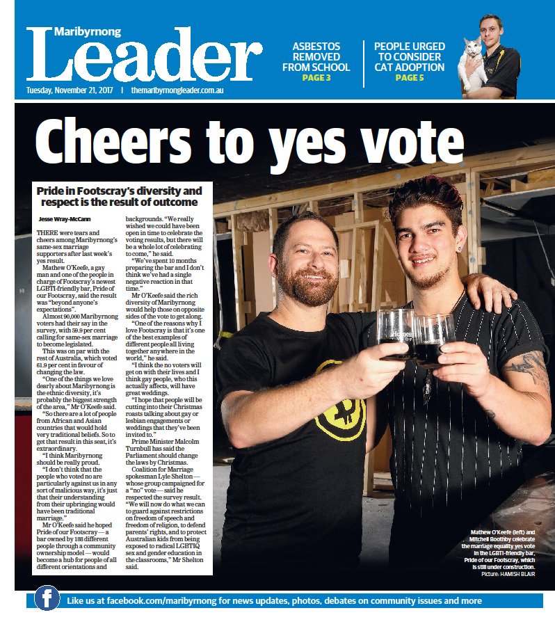 """In this week's @maribyrnongldr, joy for #marriageequality supporters after yes result, Struggle Street doco makers use """"guerrilla"""" tactics to film in Maribyrnong, and $2m building upgrade for Footscray West Primary. Digital edition: https://t.co/A7W2CdYmnL https://t.co/G2lFI0t9SN"""