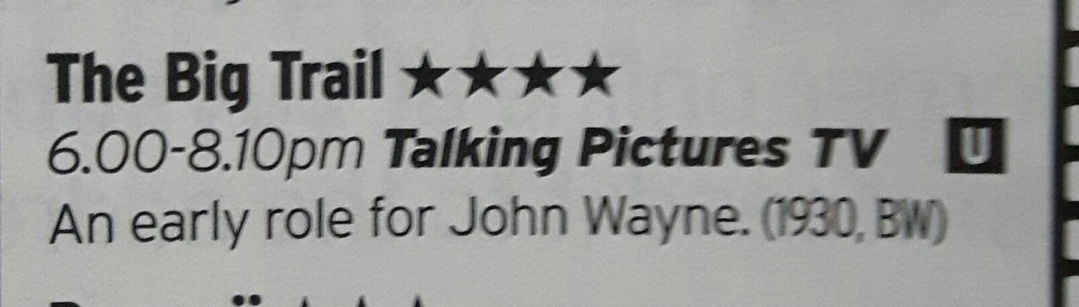 Our PREMIERE at 6pm THE BIG TRAIL (1930) #JohnWayne gets a 4**** star rating in @RadioTimes @RadioTimesFilm<br>http://pic.twitter.com/zNKDsOlhei