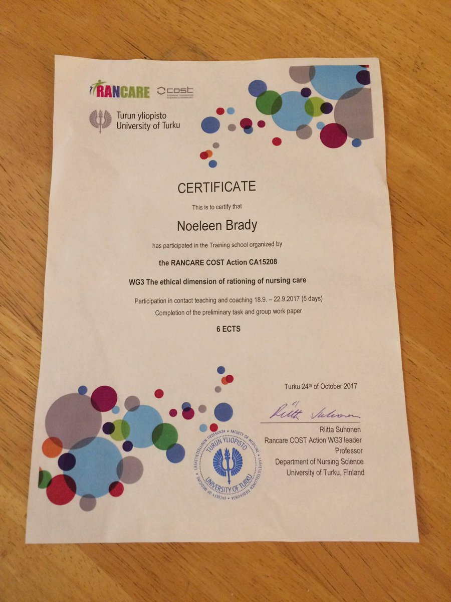 Noeleen M Brady On Twitter Thanks For The Certificate And 6 ECTS