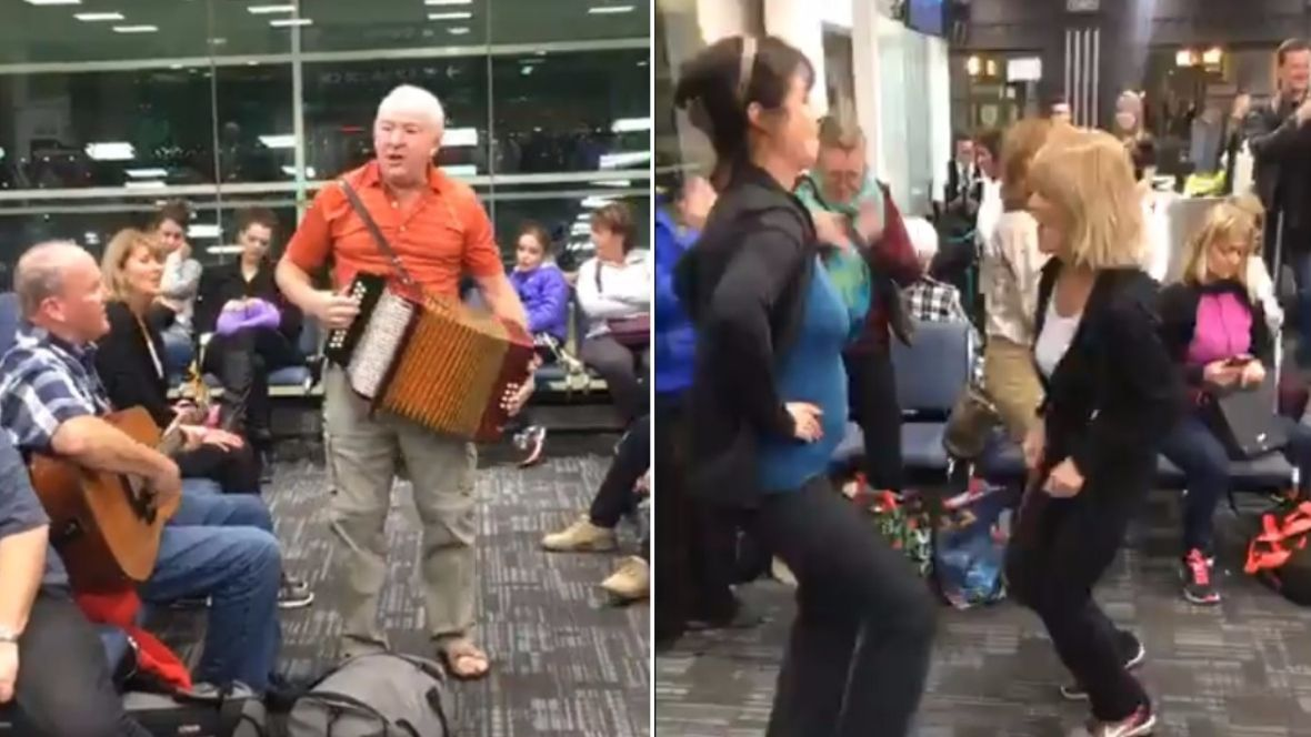 Delayed flight turns into Newfoundland kitchen party at Pearson International Airport https://t.co/LxL0JB4wX4 https://t.co/DFA3LTw6a7