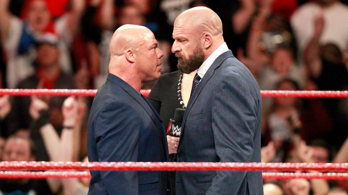 Are you excited to see Triple H and Kurt Angle face off?  Should they save it for #Wrestlemania? <br>http://pic.twitter.com/ZxxjiZxusi