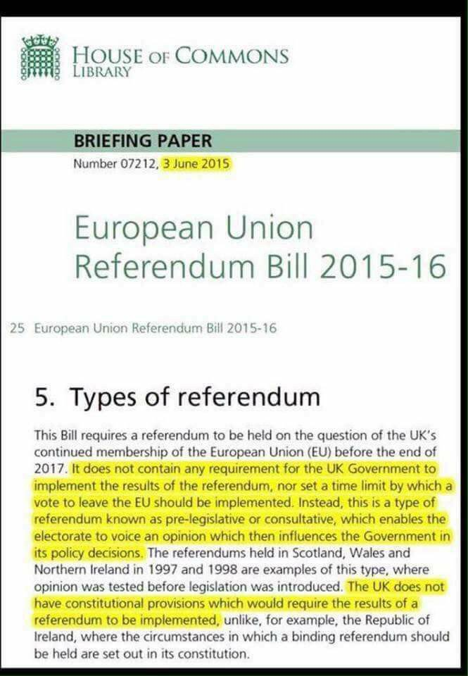 Exactly, #r4today  #Tories persuaded Parliament to agree to a NON-BINDING #EUref - an Opinion Poll  As such, it needed no electoral safeguards (eg #Supermajority)  Once in law, #Tories sold it to voters as BINDING referendum  Not only nasty but duplicitous  #Brexit #STOPbrexit<br>http://pic.twitter.com/LgwgtmcV33