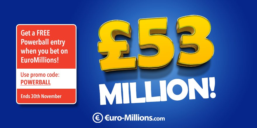 Tonight&#39;s #EuroMillions jackpot is est. £53M  Plus, get a FREE Powerball entry when you bet on EuroMillions before 30th November!  https://www. euro-millions.com / &nbsp;  <br>http://pic.twitter.com/qYaCqdYjWf