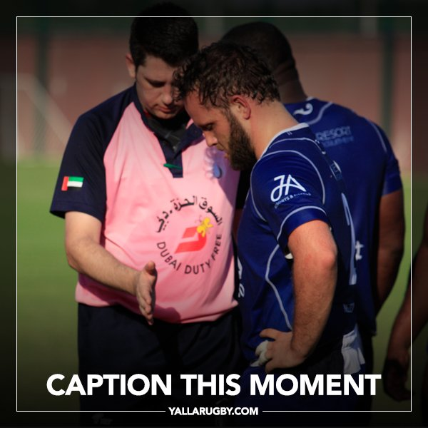 Caption this moment between @uaerrs @TonyDuminy and a @JebelAliDragons player....  #yallarugby #uaerugby #caption #referee ..... Don&#39;t hold back now!!! <br>http://pic.twitter.com/eOZy3qGNbJ