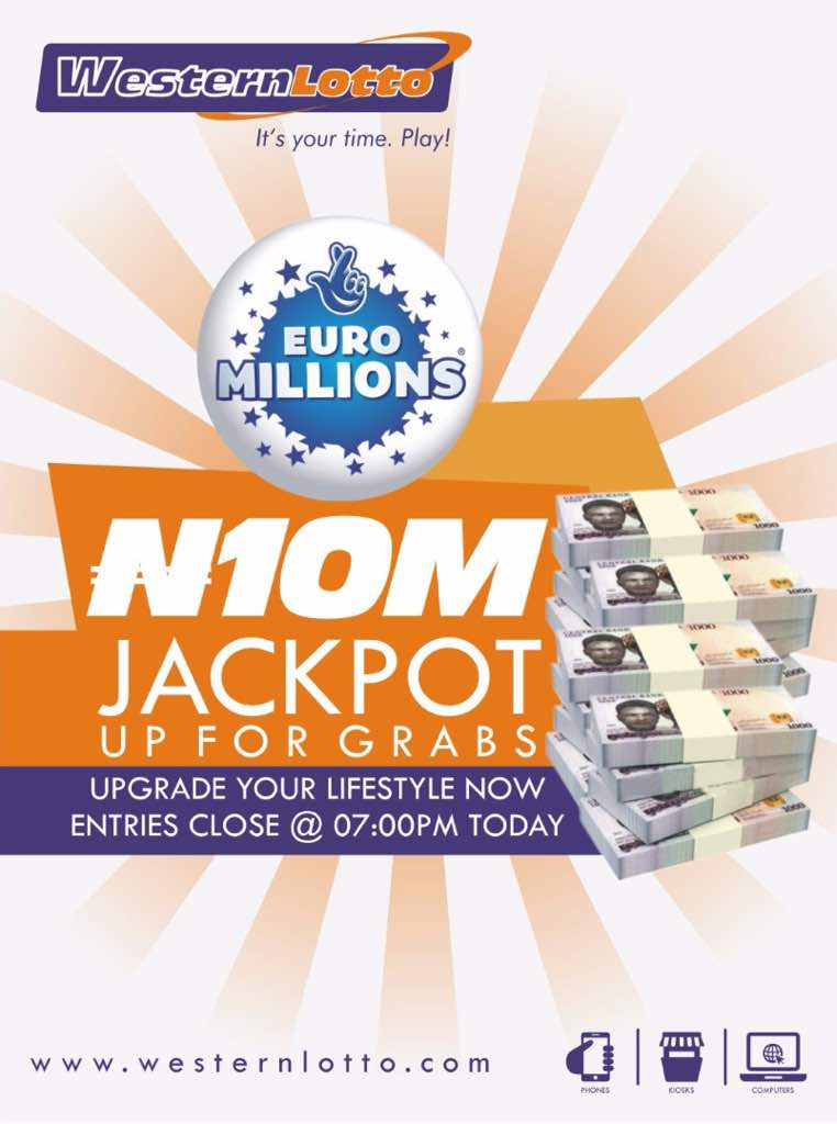 N10m could be yours tonight when you play #EuroMillions with just N100 at  http:// westernlotto.com  &nbsp;   . Hurry now! #ItsYourTimePLAY<br>http://pic.twitter.com/jWotzLe64j