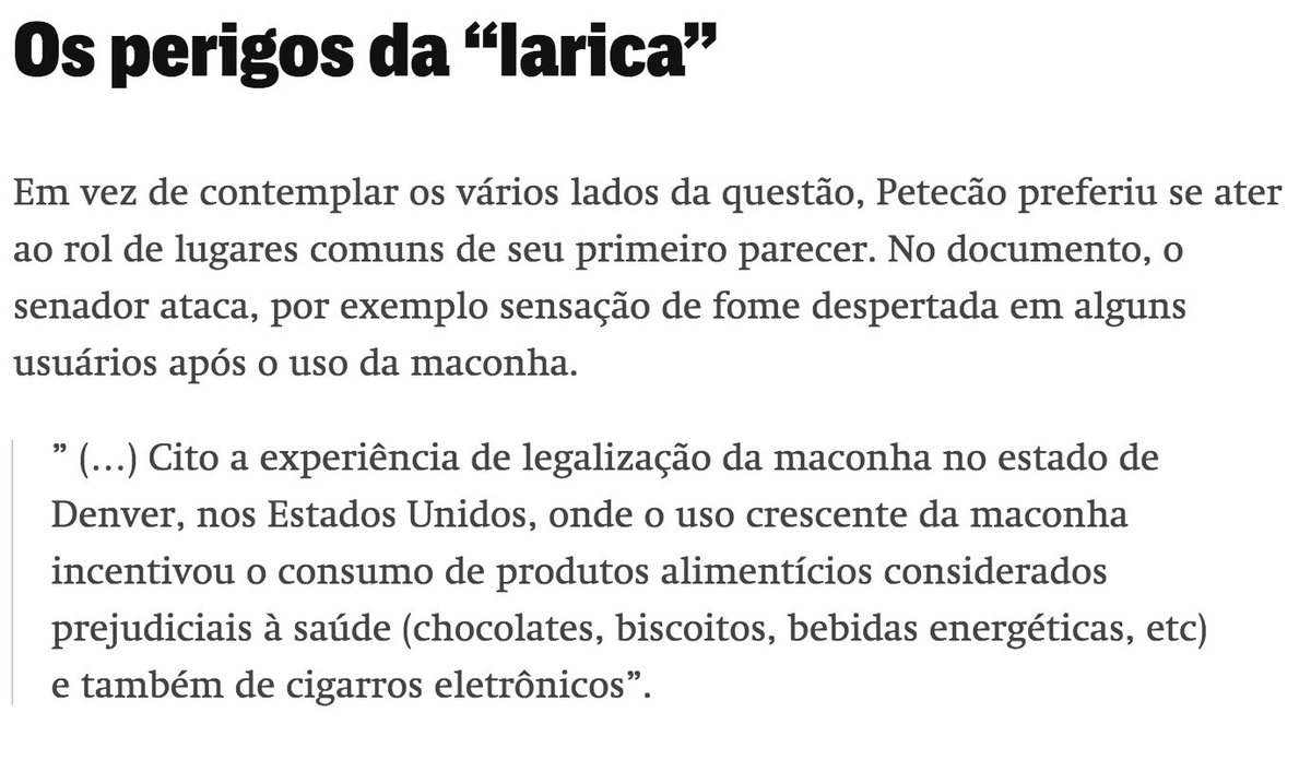 Senador ignora apelos e mantém relatório contra plantio de maconha para uso próprio https://t.co/RcpoIXAbcm  Um dos medos do senador Petecão (PSD/AC), relator da sugestão legislativa (SUG 25/2017), é com a 'larica'. Os detalhes em @TheInterceptBr