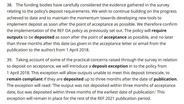 #REF2021 will retain acceptance date + 3 months as #OA deposit policy but will permit as compliant exceptions papers deposited 3 months post-publication  http://www. ref.ac.uk/publications/2 017/decisionsonstaffandoutputs.html &nbsp; … <br>http://pic.twitter.com/8MZ6D9uFBj