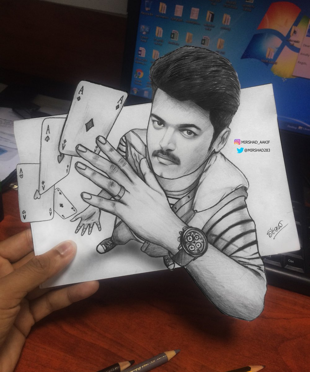 Mirshad On Twitter Top Down 3d Drawing For Vijay Actorvijay So