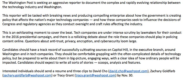 Big job posting: @washingtonpost's technology policy reporter. Be in touch if interested.