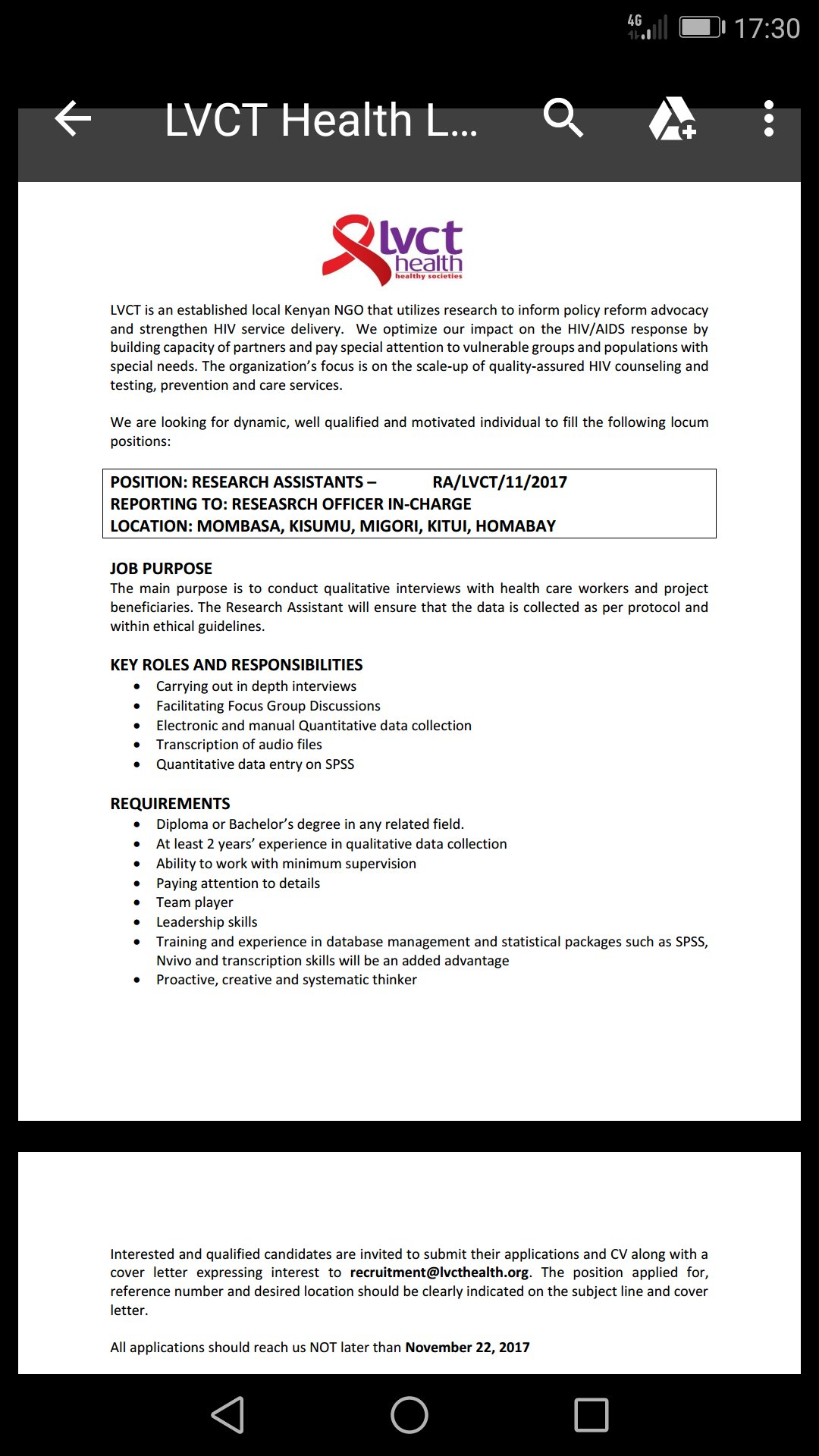 Lvct Hiring Research Assistant - Opportunities For Young Kenyans