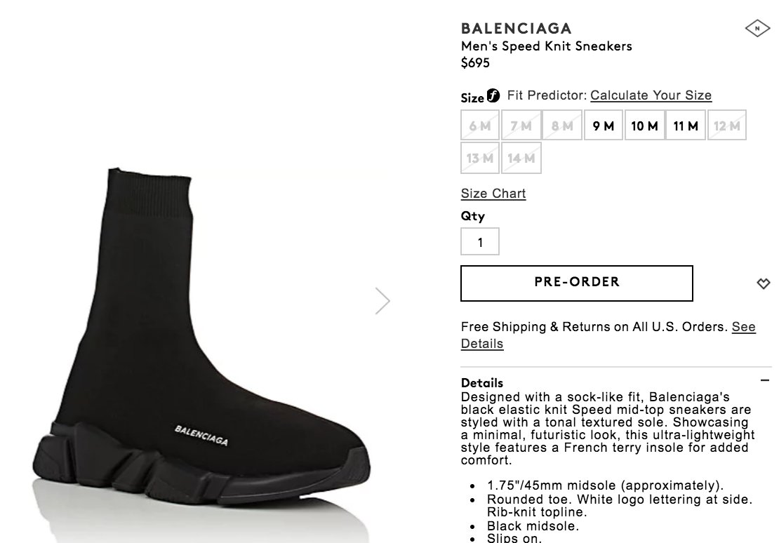 balenciaga speed trainer size fit low