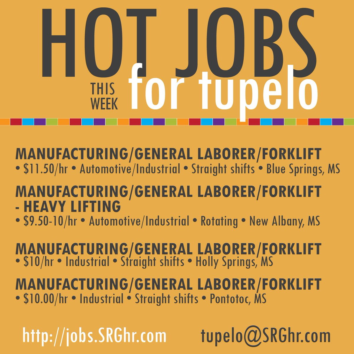 Looking for work in #Mississippi? We have just the thing! #Manufacturing, #Laborer and #Forklift opportunities in #BlueSpringsMS, #NewAlbanyMS, #HollySpringsMS and #PontotocMS. Apply today! 662-791-7877 tupelo@SRGhr.com  http:// jobs.SRGhr.com  &nbsp;   #SRGgethired<br>http://pic.twitter.com/5vSHVE2DG4