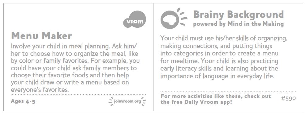 #VroomTip: Involve your child in meal planning. By helping make the menu they&#39;re putting things into categories and making connections! <br>http://pic.twitter.com/3P968zi9rL