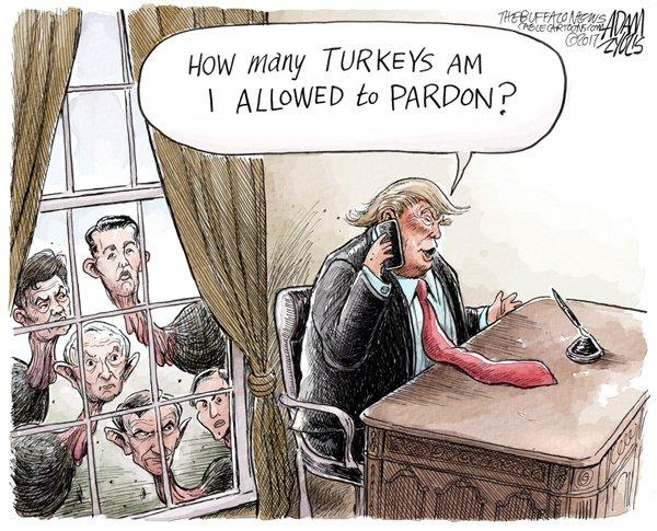 Time to give thanks... (for Mueller) #Trump #Russia #MuellerInvestigation #Flynn #Manafort #Sessions #DonJr #JaredKushner #HappyThanksgiving #turkeypardon @TheBuffaloNews  http:// buffalonews.com/2017/11/21/ada m-zyglis-turkeys/ &nbsp; … <br>http://pic.twitter.com/bQaZvGhiOv