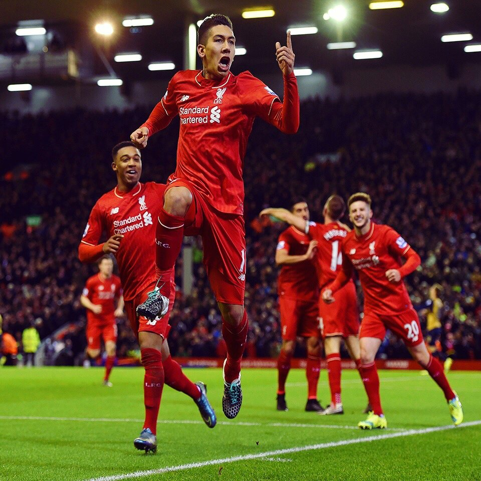 On this day in 2️⃣0️⃣1️⃣5️⃣...  Roberto Firmino scored his debut goal for #LFC in a 4-1 win at @ManCity.   The Brazilian has scored 30 goals in 108 appearances for the Reds 🔴👏