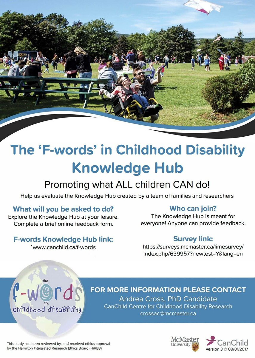 Check out @canchild_ca new implementation of the #fwords of #Disability Check out the hub and take the 5 minute survey. Would help greatly! <br>http://pic.twitter.com/6B1SESjqvg