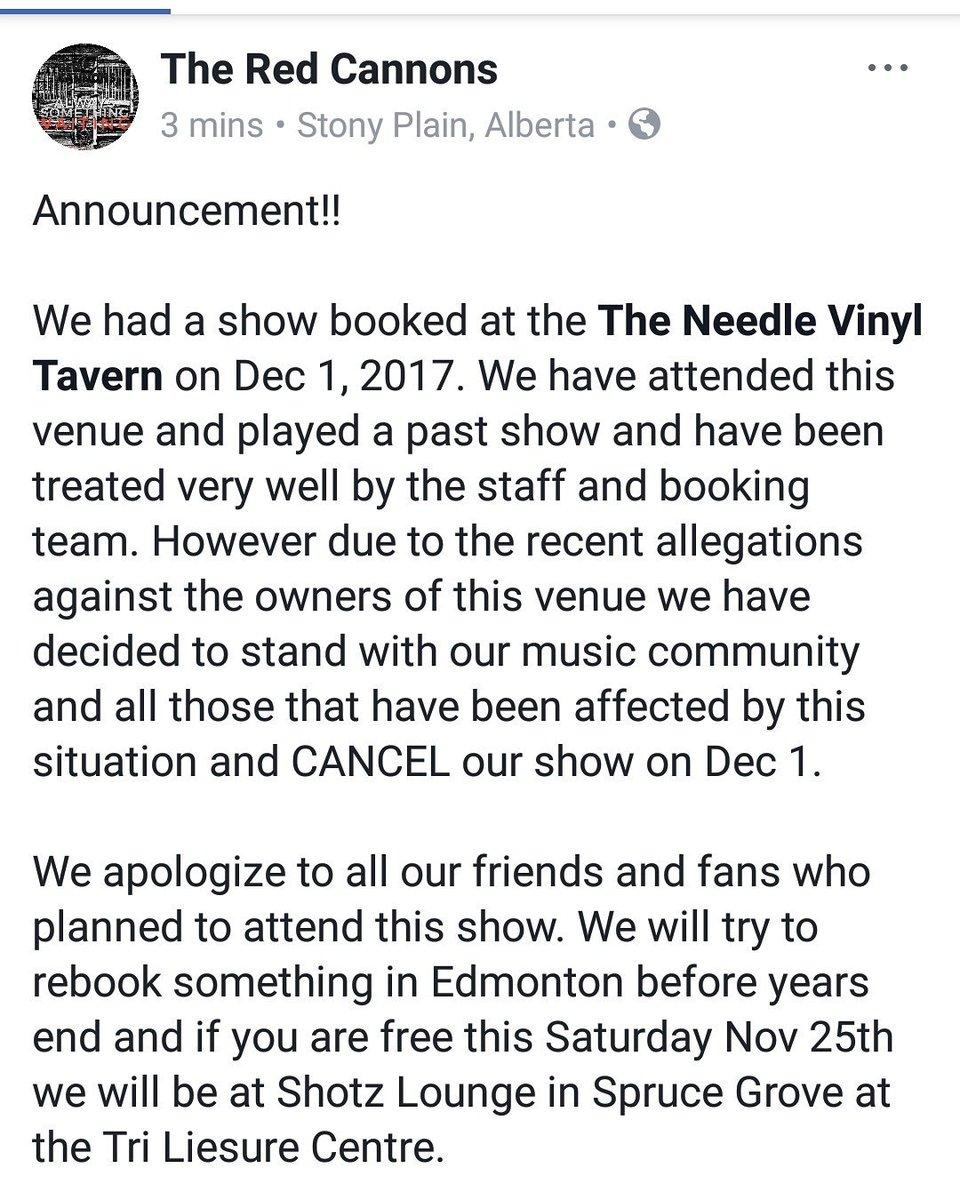 Dec 1 show at @theneedleyeg canceled. Read statement below!  #Announcement <br>http://pic.twitter.com/Gt15GDokz4