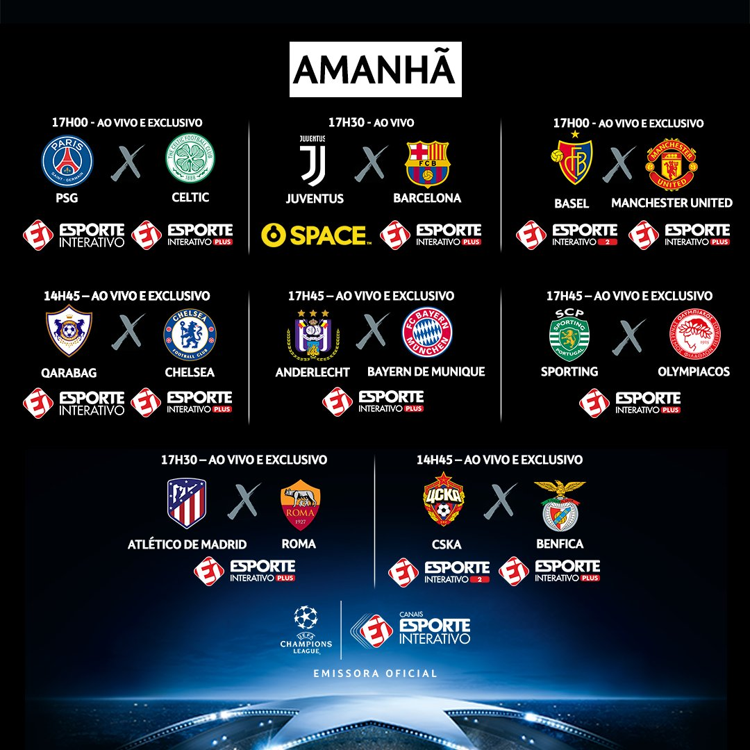 @RCatarina2000 Amanhã tem mais 8 jogos na Champions! No Esporte Interativo Plus você assiste a TODOS os jogos: https://t.co/tJfGhTm6vi