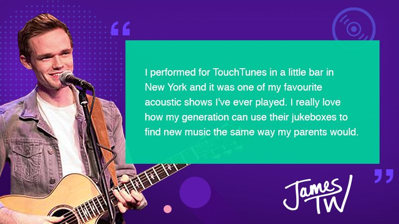Thanks @JamesTWmusic for sharing your Jukebox Story with us! So excited for #NationalJukeboxDay TOMORROW! Play his song #ForYou on #TouchTunes.  @IslandRecords #JamesTW<br>http://pic.twitter.com/oTptf6143Q