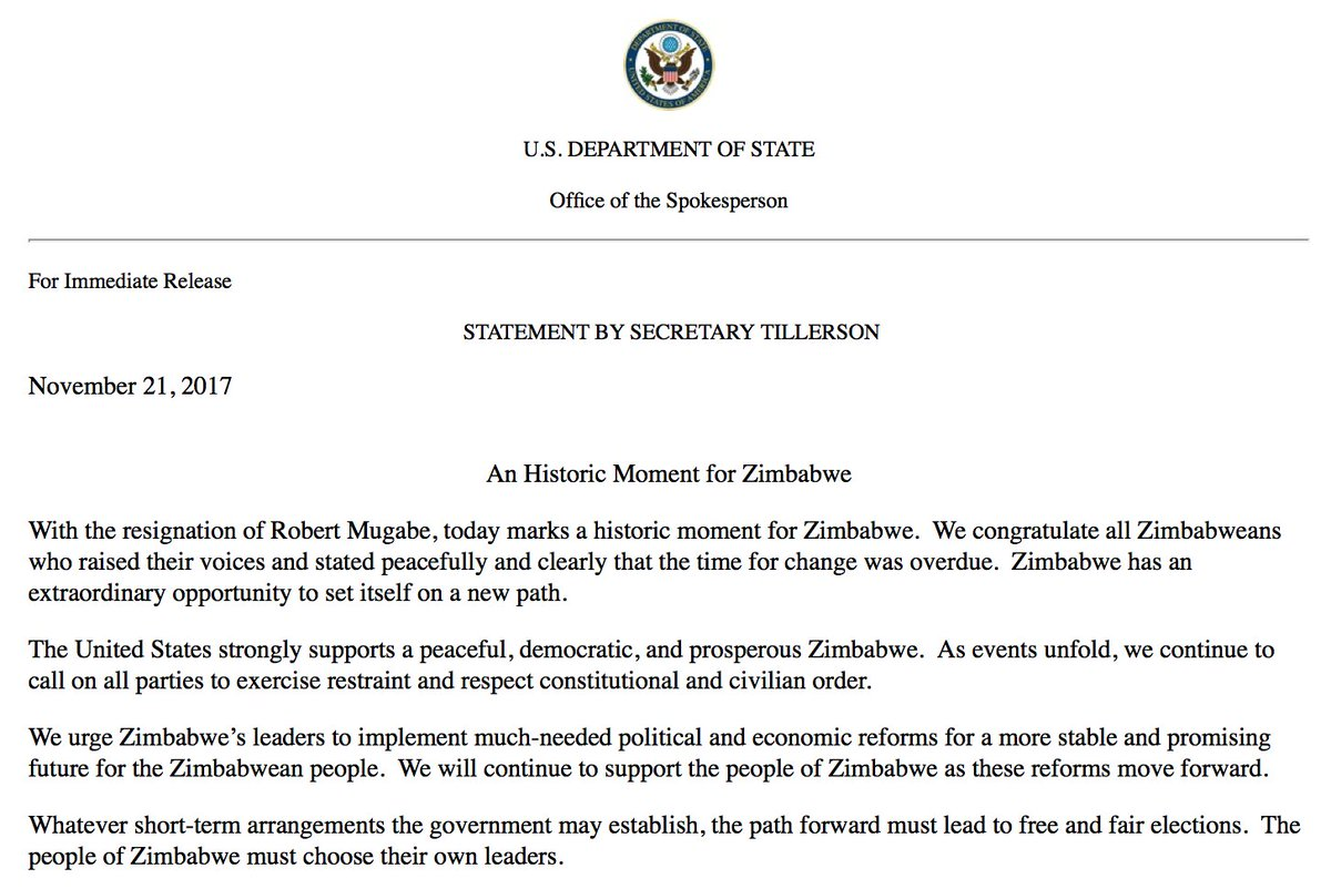 NEW: Sec. of State Rex Tillerson calls Robert Mugabe's resignation 'a historic moment for Zimbabwe.' https://t.co/0A3cPUU3bw