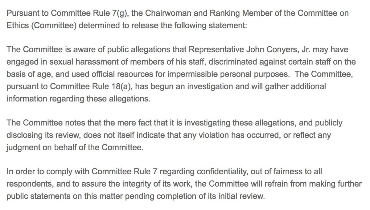 NEW: House Ethics Committee begins investigation of Rep. John Conyers over accusations of sexual harassment. https://t.co/ZBgGy90tGG