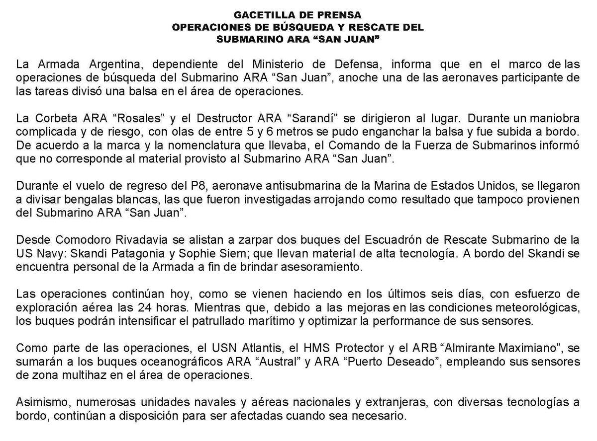 RT @Armada_Arg: Último parte oficial sobre el operativo de búsqueda y rescate del #SubmarinoARASanJuan https://t.co/v0YA5Df6aV