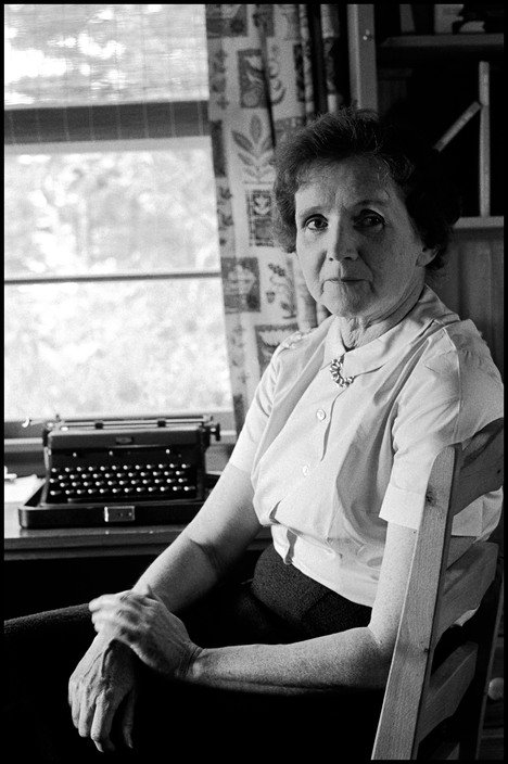 Rachel Carson and her typewriter, by Erich Hartmann, 1962.