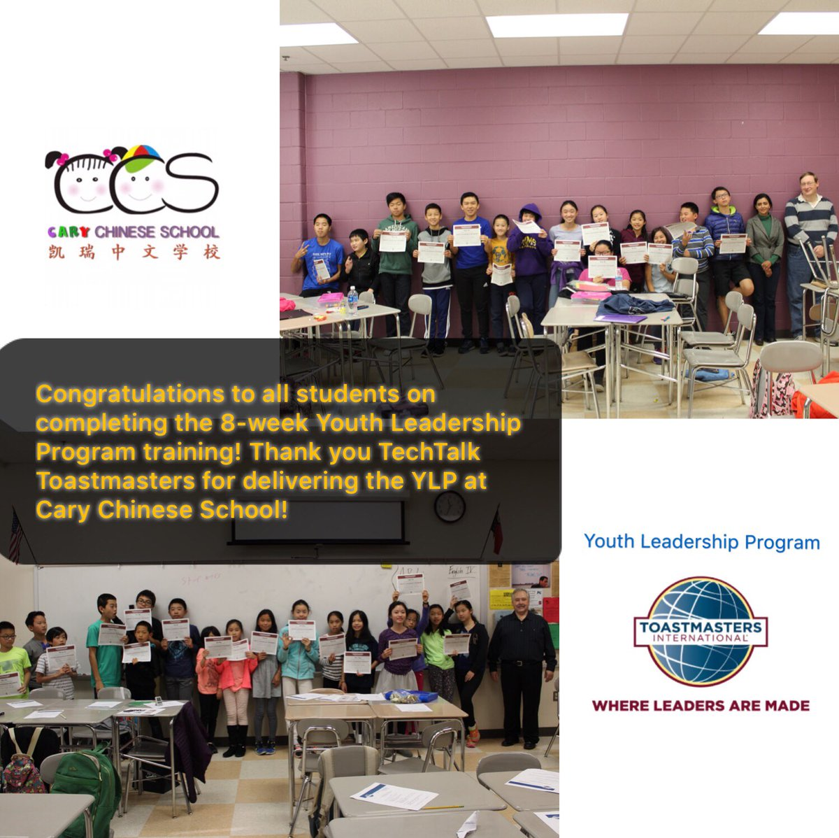 Congratulations to all students on completing the 8-week Youth Leadership Program training! Thank you @ToastmastersD37 TechTalk Toastmasters for delivering the YLP at Cary Chinese School! #Toastmasters #WhereLeadersAreMade <br>http://pic.twitter.com/I0ymqGcY4s