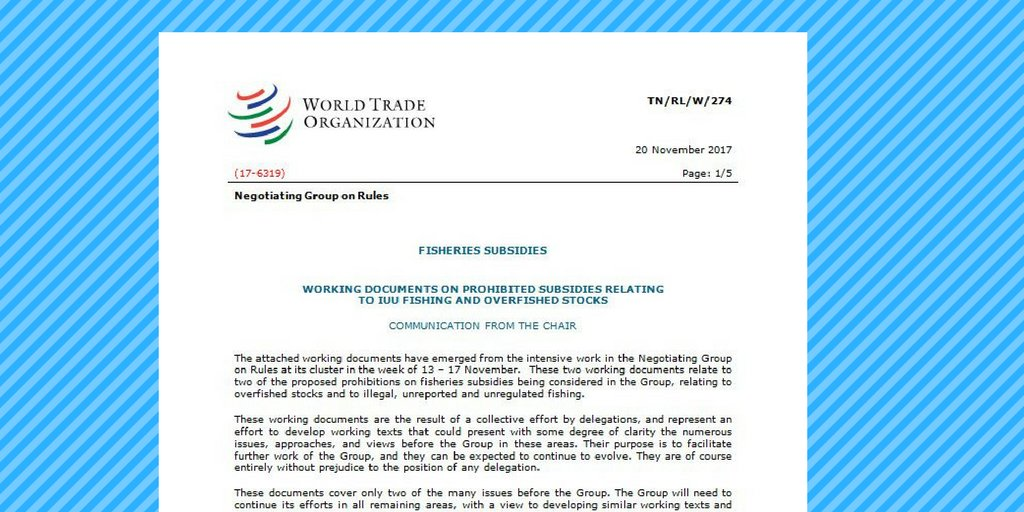 On #WorldFisheriesDay, have a look at the streamlined texts #WTO members drafted last week for negotiations to prohibit subsidies that harm marine fisheries:  http:// bit.ly/WTOfishtexts  &nbsp;    Watch out for our news item soon!<br>http://pic.twitter.com/kFJaBOo8WZ