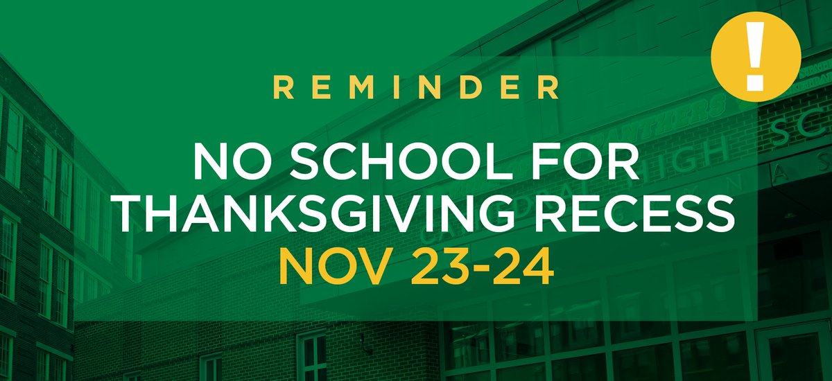 test Twitter Media - A reminder to our CHS community that students are released early tomorrow at 11:30 a.m. (no lunch is served), and school will resume Monday, Nov 27 after the Thanksgiving break. Happy Thanksgiving! 🦃 https://t.co/6Qst4JwzsZ