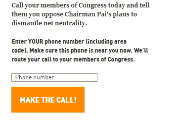 Enter your phone number on the form, and you'll be directed to your members of Congress. #SaveNetNeutrality https