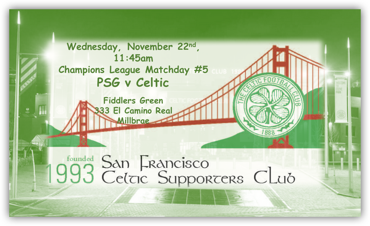 Cup Final warm-up… join us at Fiddlers Green, Millbrae, 11/22, 11:45am kick-off. Visitors welcome @celticfc #celticbars #COYBIG