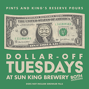 Join us for some #DollarOffTuesday pints! Take your pick, we&#39;ll pour, and you get a buck off.  Both #SKB locations are open until 9pm.  <br>http://pic.twitter.com/OnKozJJHdz