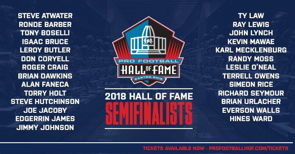 BREAKING: The list of the 27 Modern-Era Semifinalists for the Class of 2018 #PFHOF18