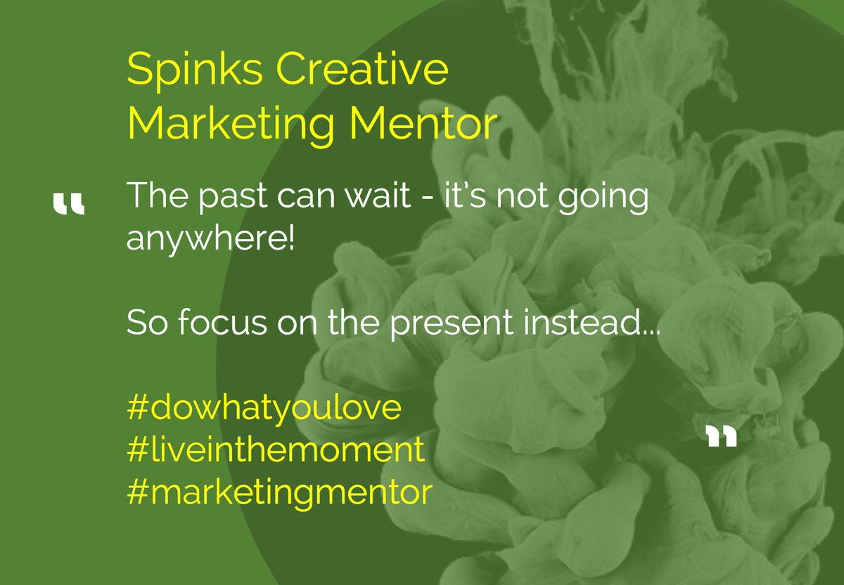 DO WHAT YOU LOVE  The past can wait - it's not going anywhere! So focus on the present instead...  #dowhatyoulove #liveinthemoment #marketingmentor <br>http://pic.twitter.com/Y3kX0jOh4q