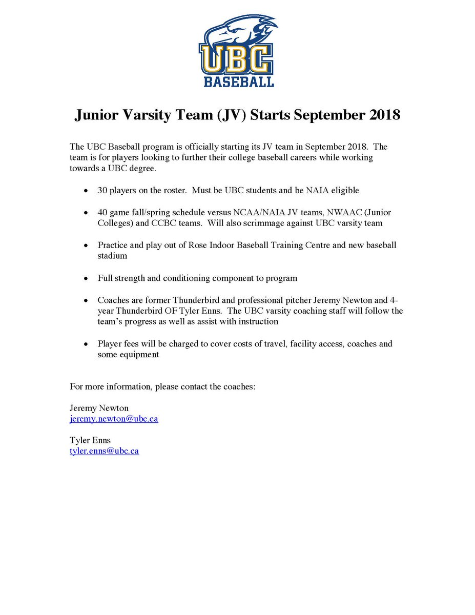 #ANNOUNCEMENT: UBC Baseball Junior Varsity Team to launch in September 2018. Please email Jeremy Newton and Tyler Enns for more details <br>http://pic.twitter.com/wiRV19Jp30