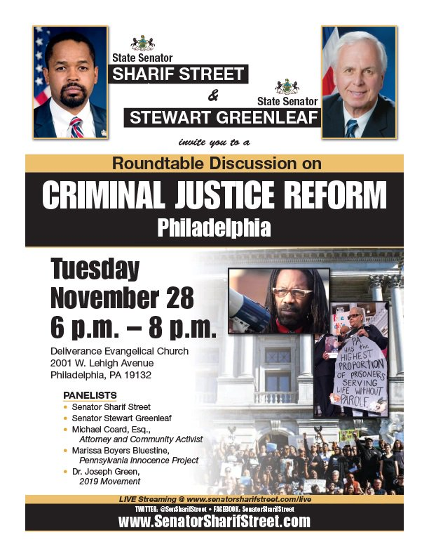 The over incarceration of @MeekMill is suffered by millions in #Philadelphia &amp; P.A. Rehabilitation &amp; Redemption must be core to Criminal Justice. Join me, @SenGreenleaf @MichaelCoard &amp; @PhillyDefenders  on Tues Nov 28th at Deliverance Evangelistic Church, 6-8 PM<br>http://pic.twitter.com/zliFmsJOga