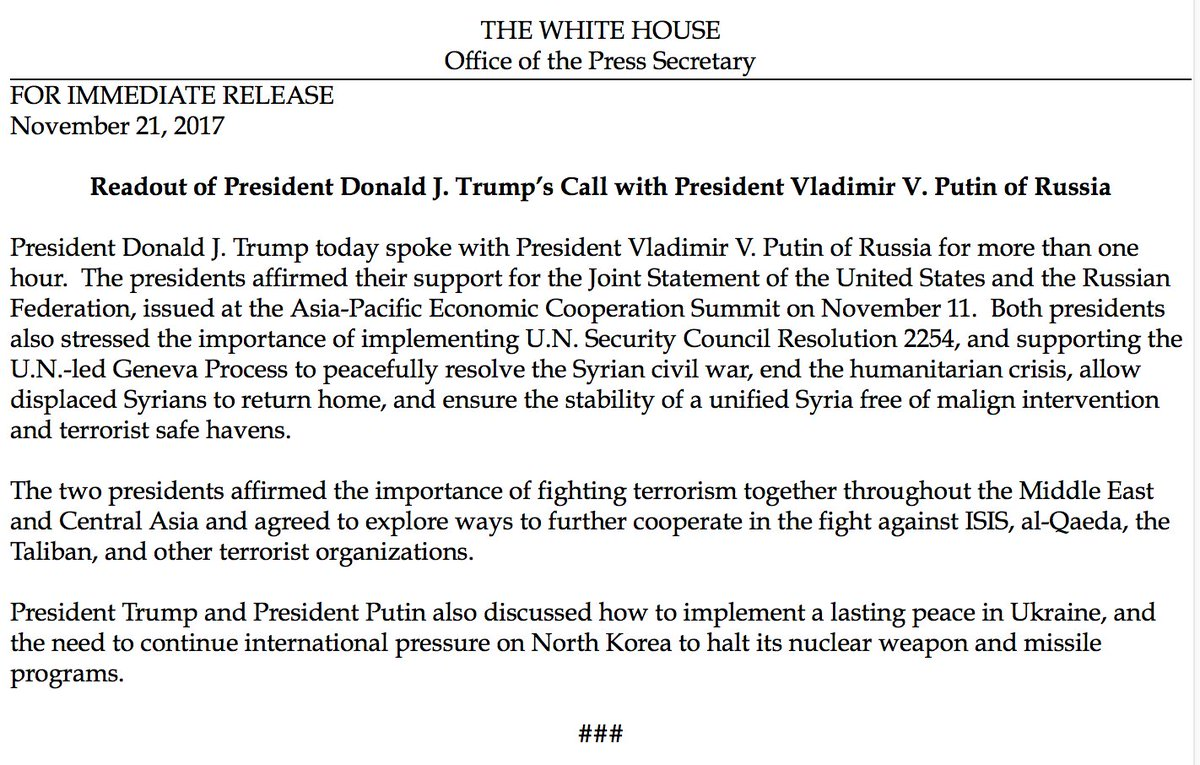 NEW: White House provides readout of call between Pres. Trump, Russian Pres. Putin. https://t.co/PRJAia79FL