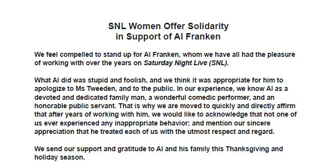 A group of female SNL staff members released this statement in support of Sen. and comedian Al Franken.