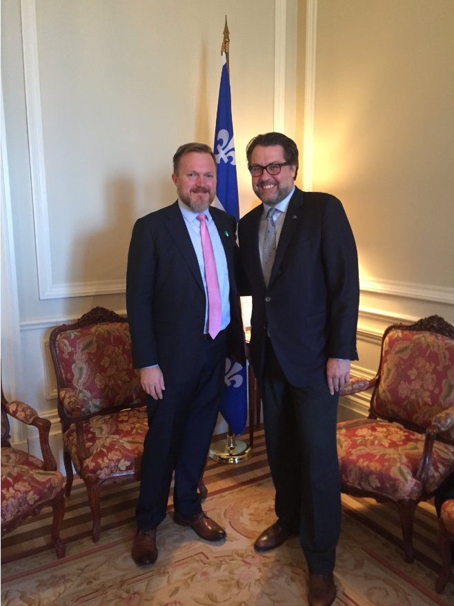 Bilateral meeting with Robert W. Thomas, US Consul General in #Mtl. We discussed common issues, including the end of the Temporary Protected Status for Haiti. The #Qc gov. monitors the situation closely. #polqc #assnat. <br>http://pic.twitter.com/jVO11jgldP