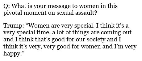 Here is a transcript of the president's message on the public wave of sexual assault allegations.