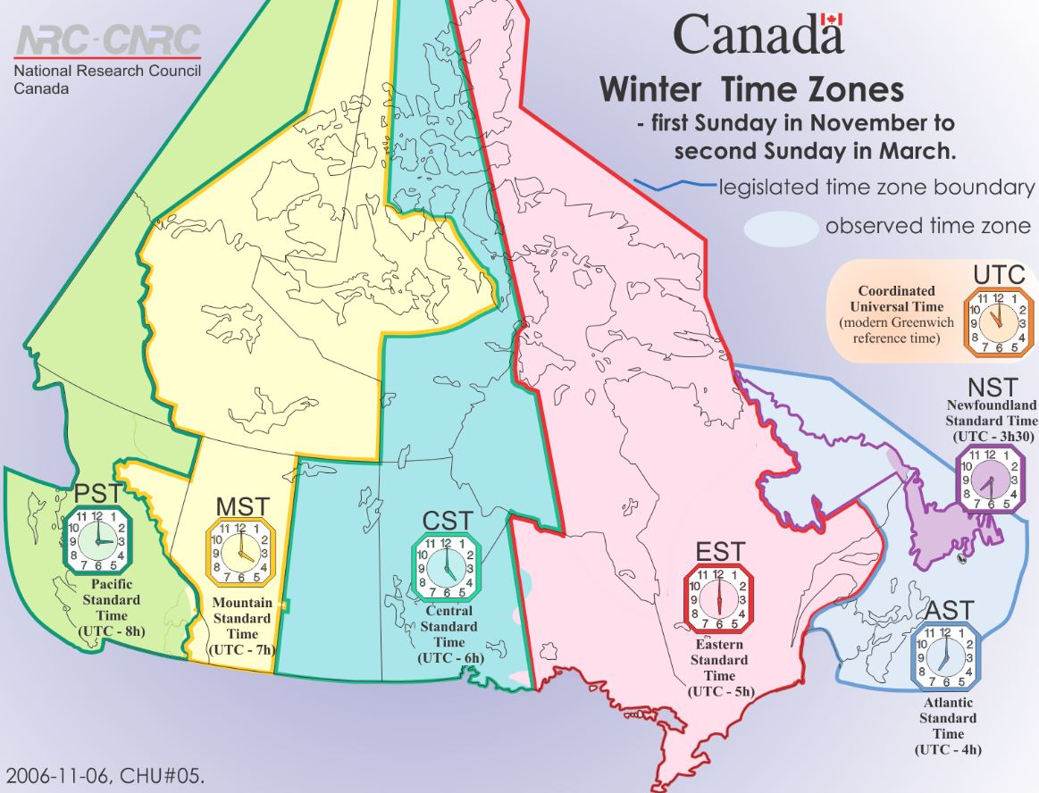 Map Of Canada Time Zones.Canada On Twitter The Answer Is B Canada Has 6 Time Zones Not 7