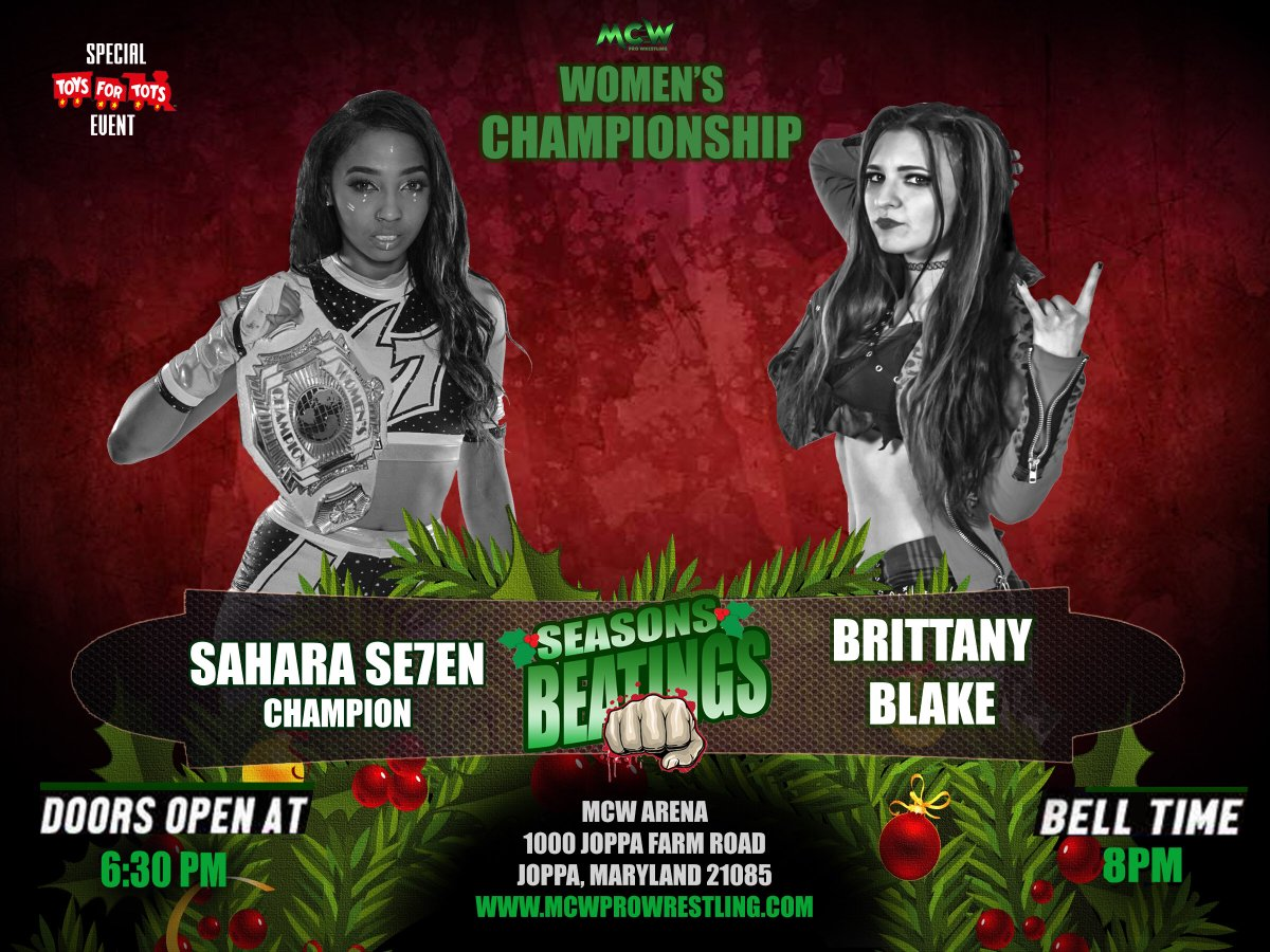Former #MCW Women's Champion @BrittanyBlake_ challenges @Sahara_007 for the Title on Friday December 1st at #MCWSeasonsBeatings2017 Beatings from the MCW Arena in Joppa! w/#TheCartel at Sahara's side, can Brittany pull off the upset victory?    http:// MCWProWrestling.com  &nbsp;   for tickets!<br>http://pic.twitter.com/JZt8w63hmK