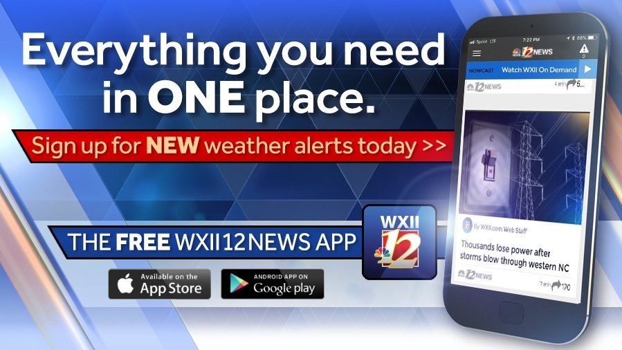 Here's how to sign up for custom weather alerts inside the WXII 12 News app! https://t.co/110Nz0rPyA