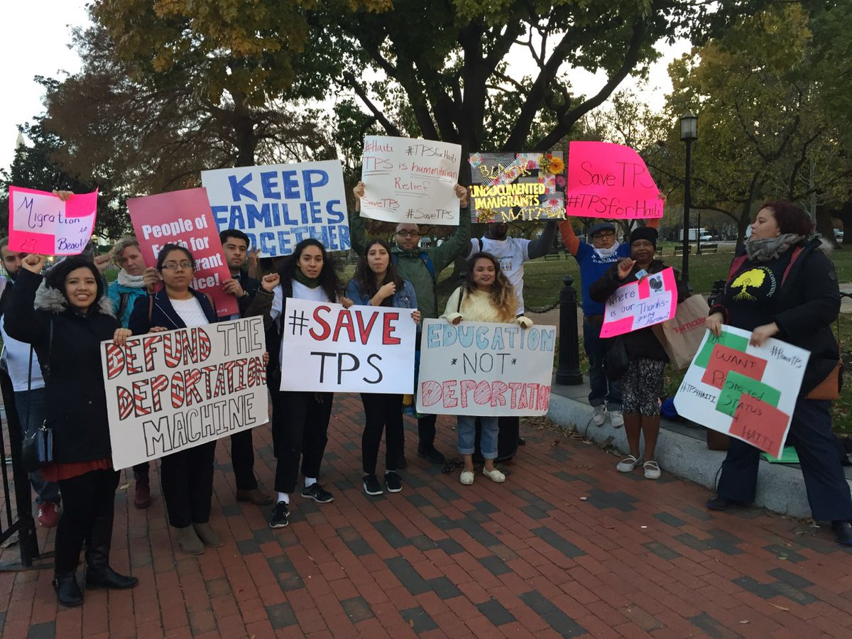 #TPS holders and advocates are in front of the #WhiteHouse to speak out against #Trump&#39;s cruel decision to terminate TPS for Haiti. We&#39;re here to say #ProtectTPS #TPSforHaiti<br>http://pic.twitter.com/kylkQic2yJ