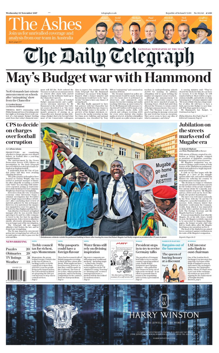 The front page of tomorrow's Daily Telegraph: 'May's Budget war with Hammond' #tomorrowspaperstoday
