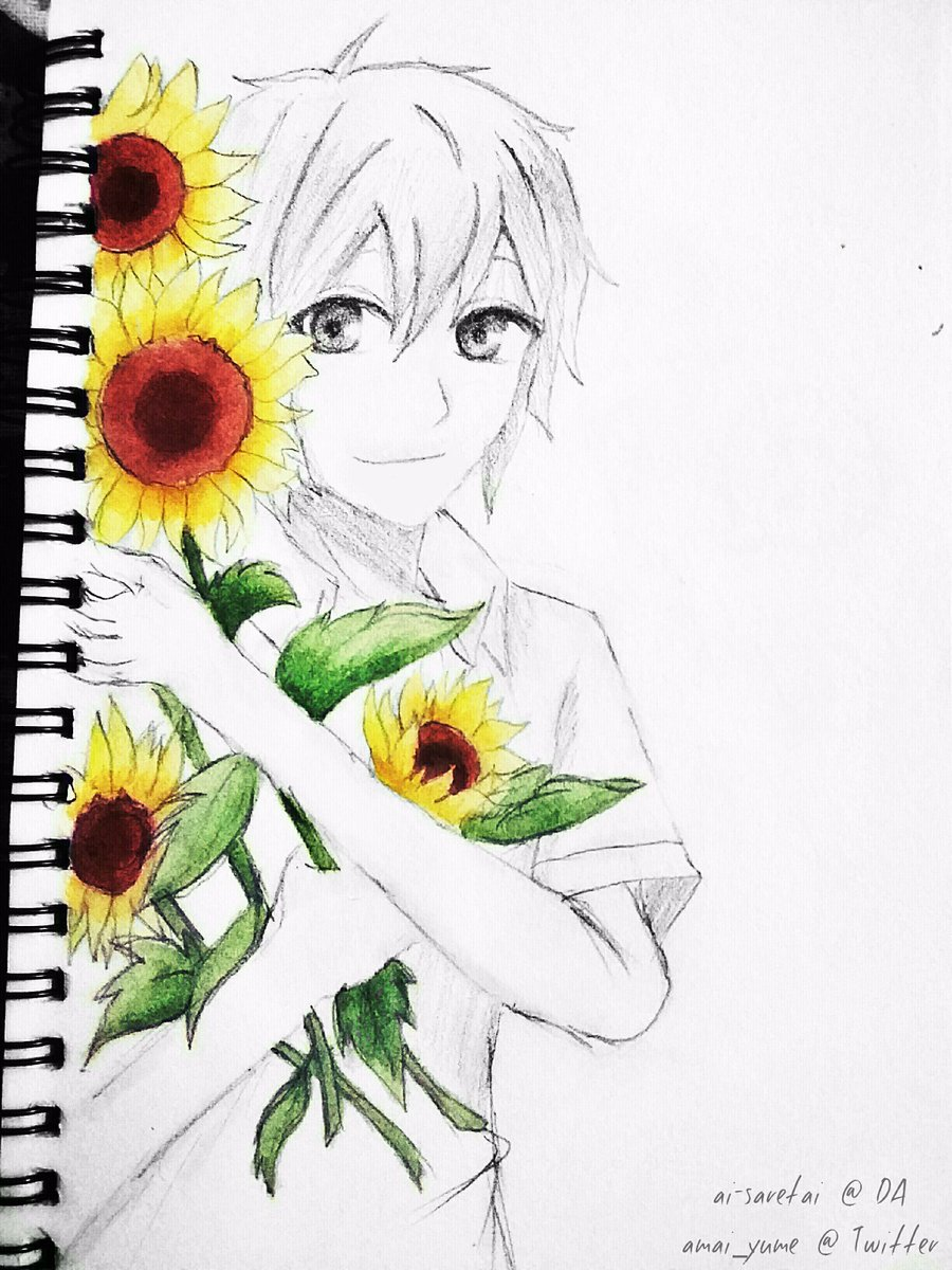 "Old drawing I did for a friend&#39;s birthday.  ヽ(""^ ω ^"")ノ   #pencil #watercolors #sketch #sunflowers #ヒマワリ<br>http://pic.twitter.com/RDQ232qk29"